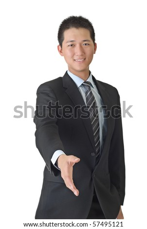 Young business man shake hand, closeup portrait of Asian on white background. - stock photo
