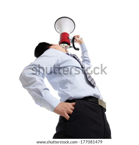 Young business man shouting into a megaphone up forward isolated on white background, asian - stock photo