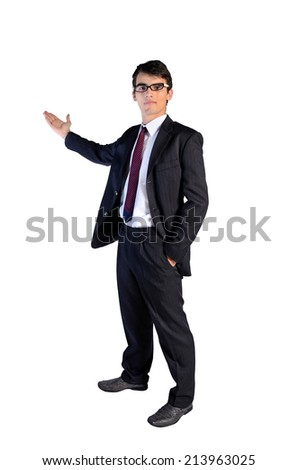 Young business man showing on white background - stock photo