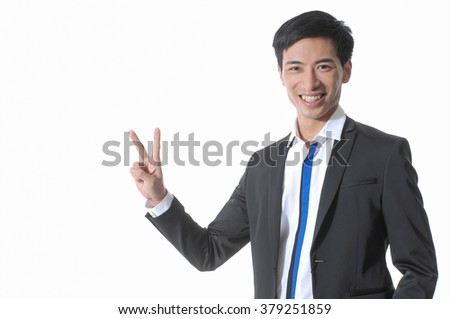 young business man showing showing two number - stock photo