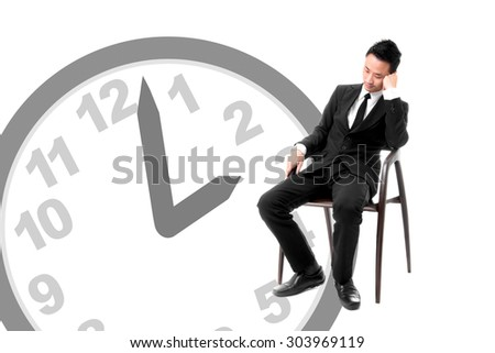 Young Business Man Sleeping On Chair In Afternoon - stock photo