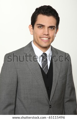 young business man smiling - stock photo