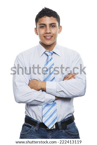 Young business man smiling with Crossed arms isolated on white  - stock photo
