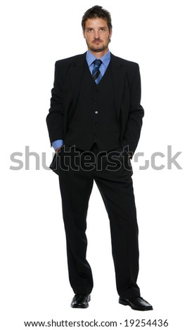 young business man standing isolated on white
