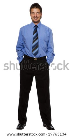 young business man standing isolated on white - stock photo