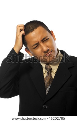 Young business man stress isolated on white background - stock photo