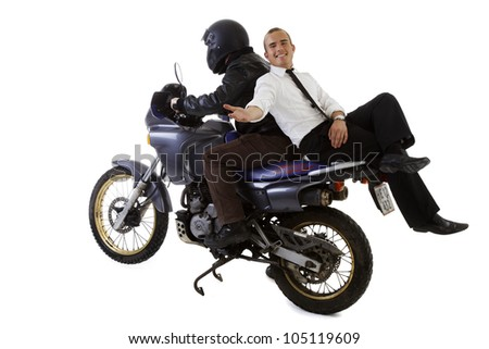 Young Business Man Suit Helmet Motorbike Driver - stock photo