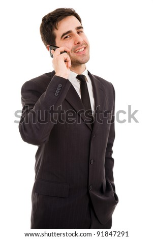 young business man talking on the phone, isolated on white - stock photo