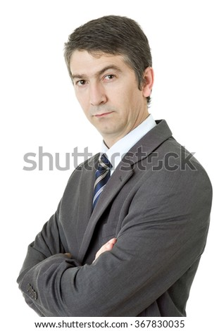 young business man thinking, isolated on white - stock photo