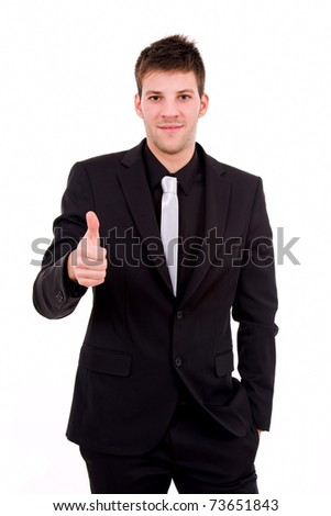 young business man thumb up, isolated on white - stock photo