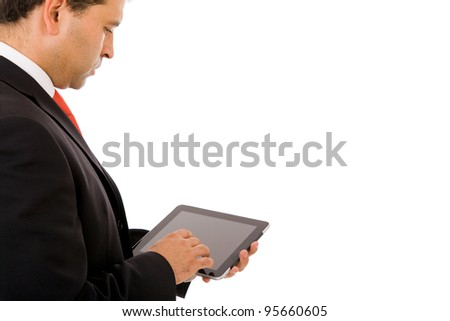 young business man using a touch screen device against white background - stock photo