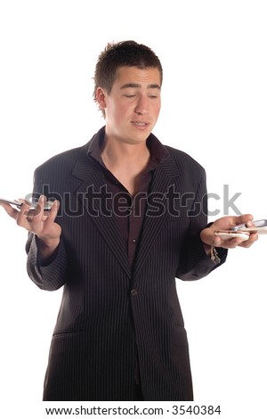 Young business man using his mobile phone