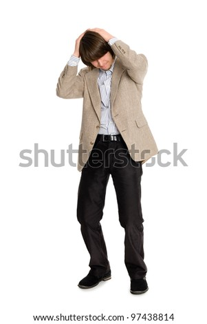 Young business man who is in the doldrums - stock photo