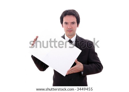 young business man with an empty card