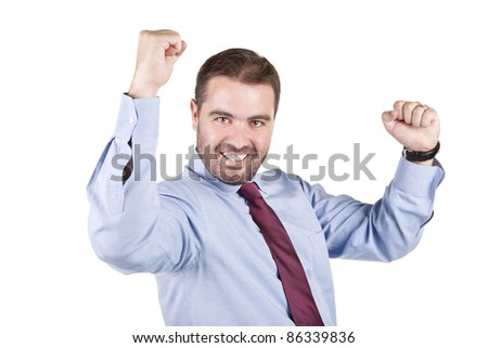 young business man with arms raised in success isolated on white background - stock photo