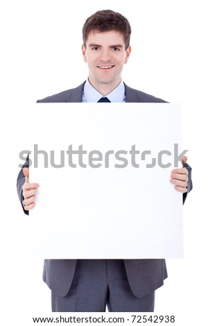 Young business man with blank board isolated on white - stock photo