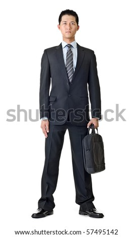 Young business man with briefcase, full length portrait isolated on white background. - stock photo