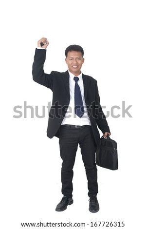 young business man with briefcase talking on the phone on white background  - stock photo