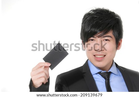 Young business man with card - stock photo