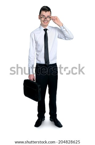 Young business man with eyeglasses smiling