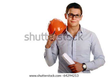 Young business man with helmet, isolated on white (room for text at left) - stock photo