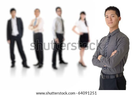 Young business man with his team over white background. - stock photo