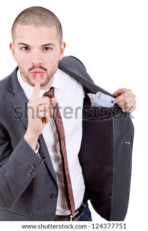 young business man with money over white background - stock photo