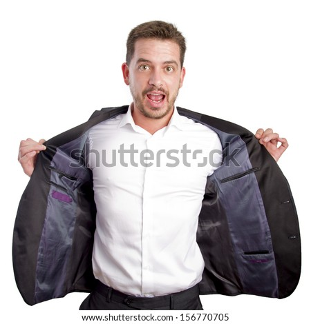 Young business man with the jacket open - stock photo