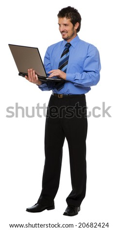 young business men with laptop isolated on white - stock photo