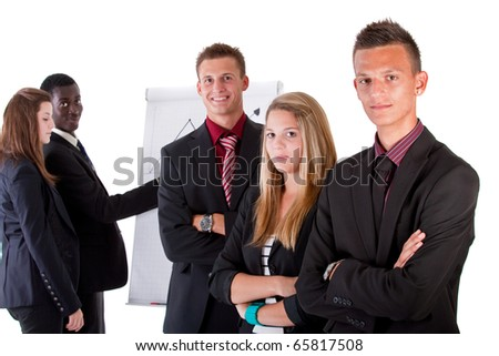 Young business people at work in an office setting. Isolated over pure white.