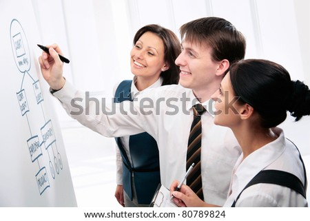 Young business people consult a whiteboard