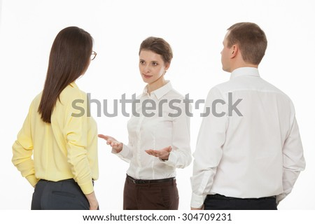 Young business people discussing new business idea, white background - stock photo