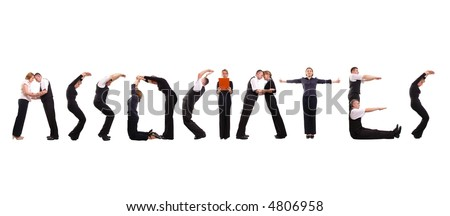 Young business people forming associates word over white - stock photo