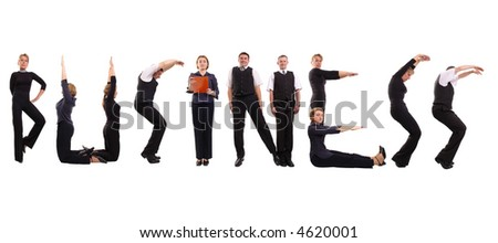 Young business people forming business word over white - stock photo