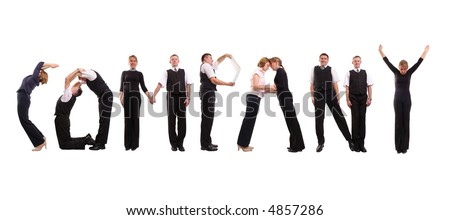 Young business people forming Company word over white - stock photo