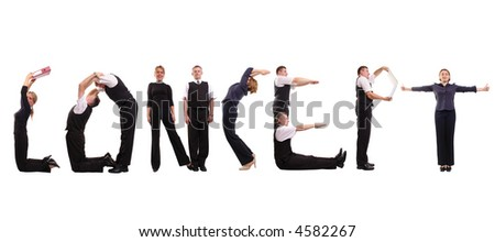 Young business people forming concept word over white - stock photo