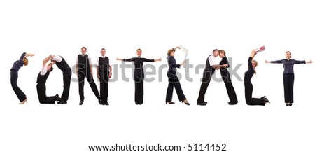 Young business people forming Contract word over white - stock photo