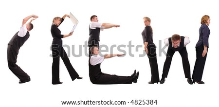 Young business people forming crew word over white - stock photo