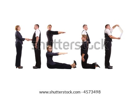Young business people forming help word over white - stock photo