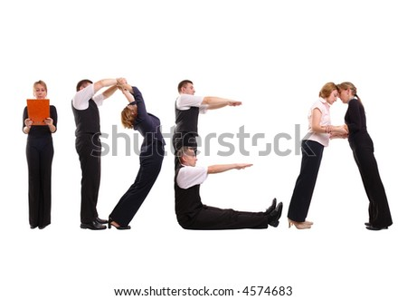 Young business people forming idea word over white - stock photo