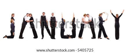 Young business people forming January word over white - business calendar concept - stock photo