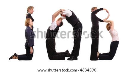 Young business people forming job word over white - stock photo