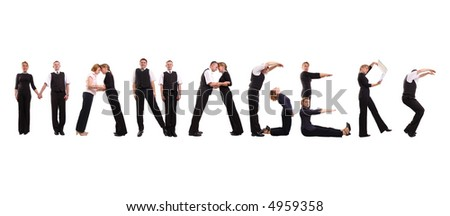 Young business people forming Managers word over white - stock photo