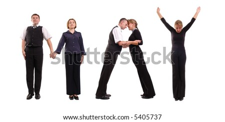 Young business people forming May word over white - business calendar concept - stock photo