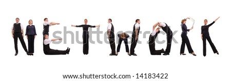 Young business people forming NETWORK word over white - stock photo