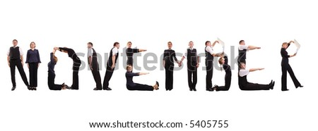 Young business people forming November word over white - business calendar concept - stock photo