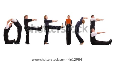 Young business people forming office word over white - stock photo