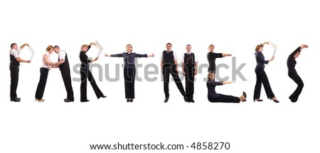 Young business people forming Partners word over white - stock photo