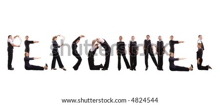 Young business people forming personnel word over white - stock photo