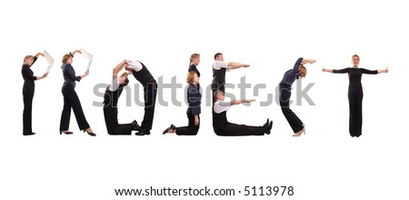 Young business people forming Project word over white - stock photo